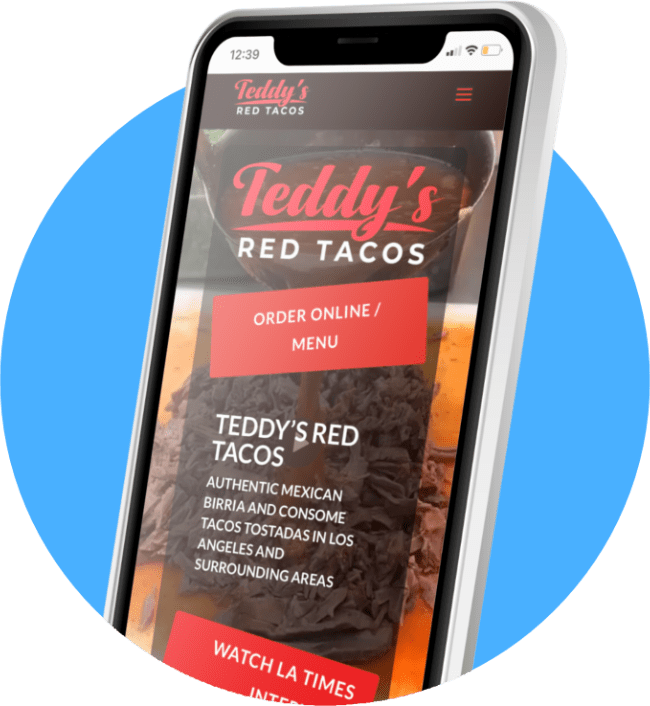 Restaurant Websites Mobile View Teddy's Red Tacos
