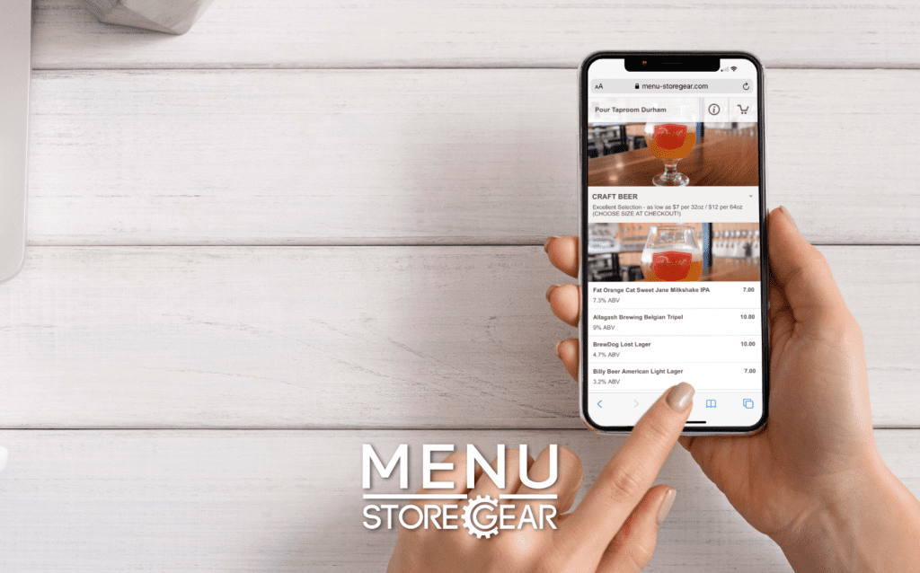 Picture of person's hand ordering food online using Menu by StoreGear on their smart phone