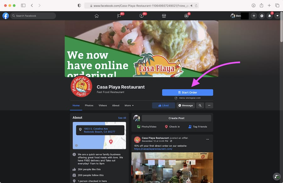 Facebook Casa Playa Food Ordering Example