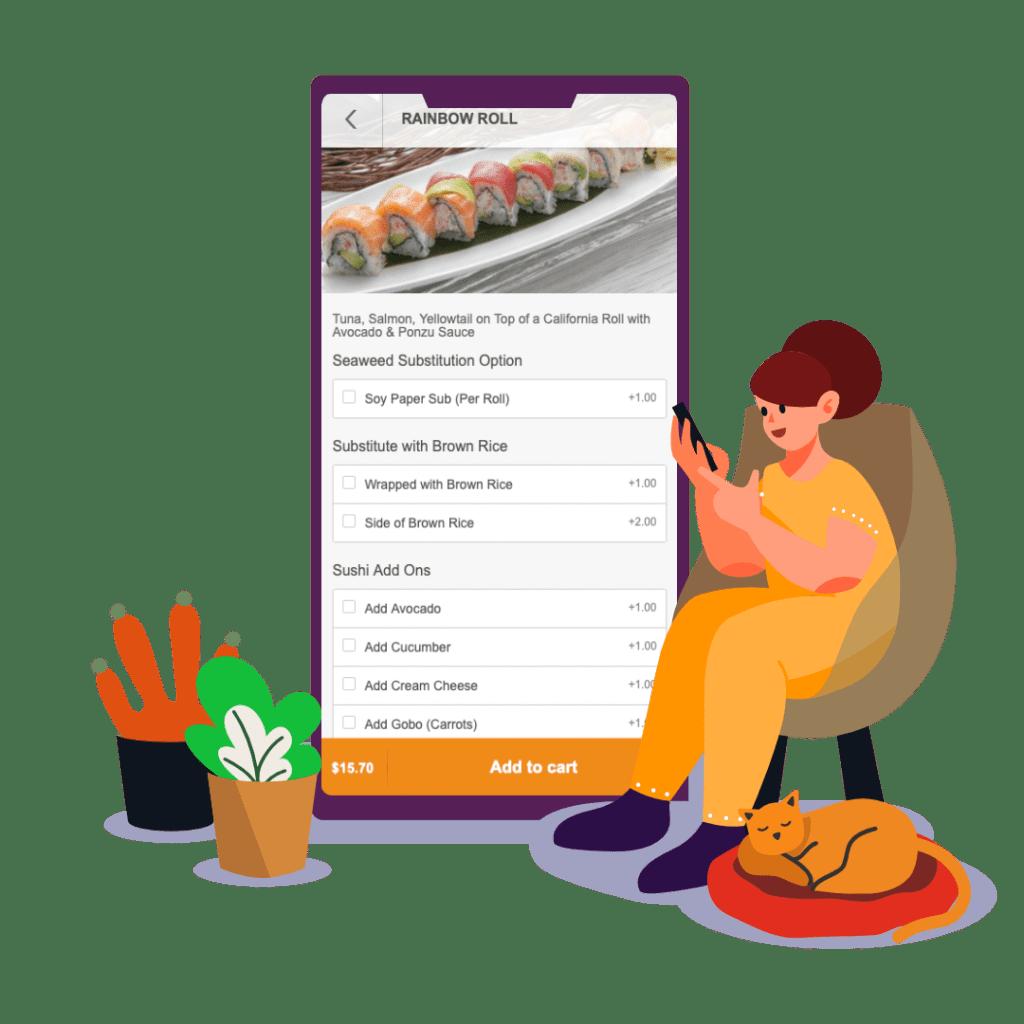 woman ordering food menu by storegear