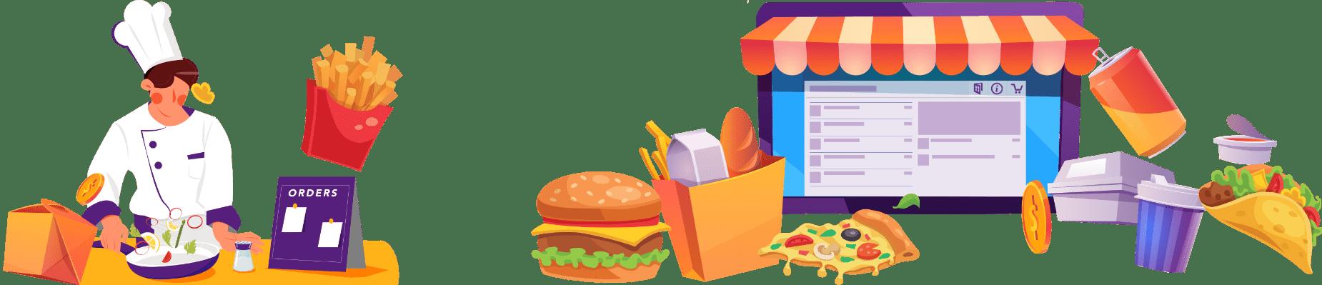 background menu food ordering storegear