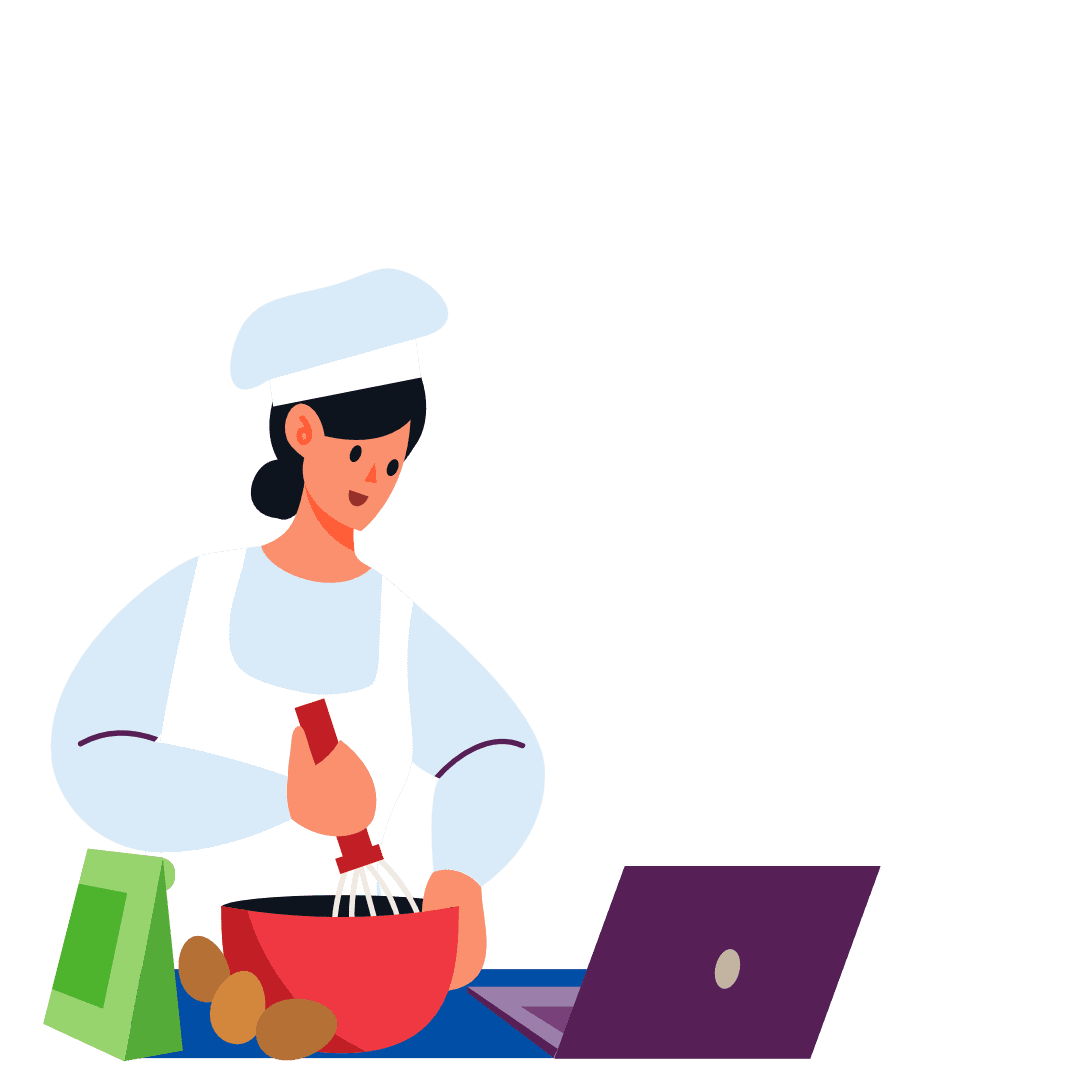 woman baking and restaurant orders on laptop