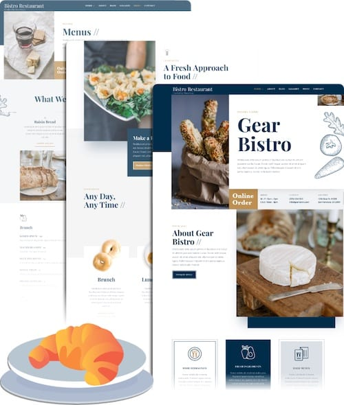 example graphic of storegear starting point restaurant website templates
