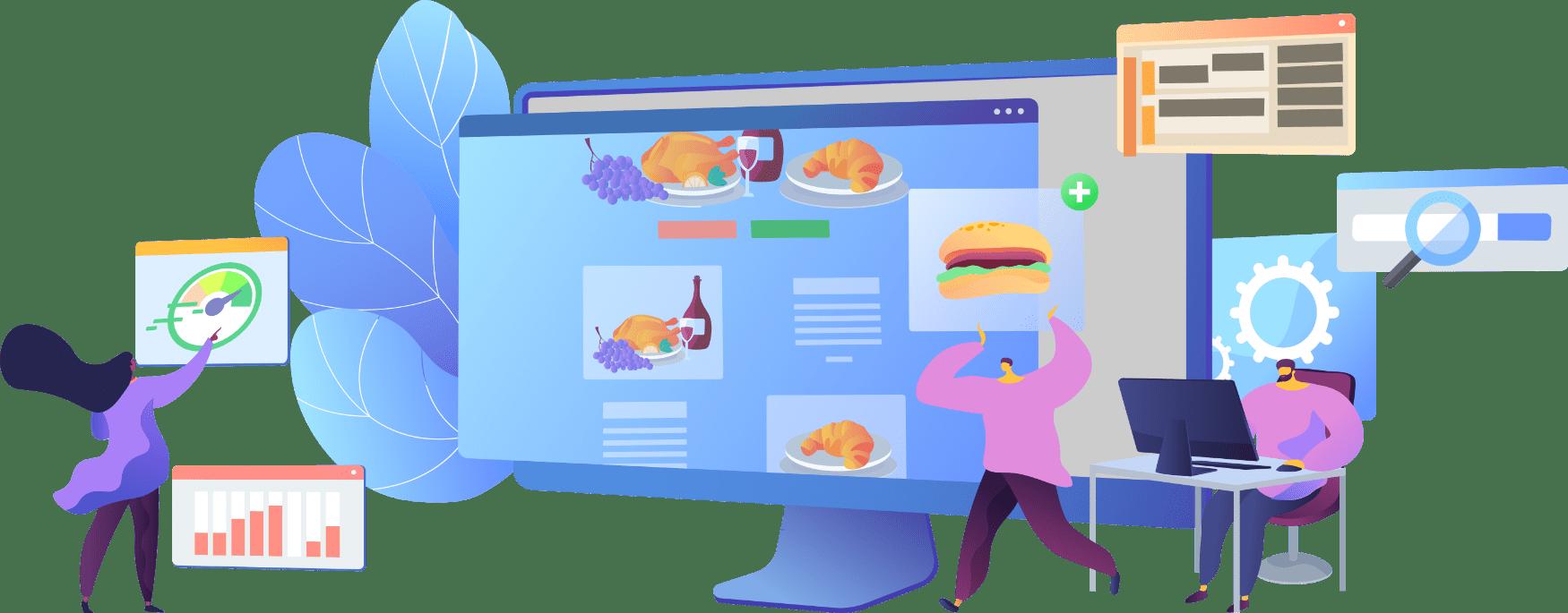 restaurant website design services fun graphic