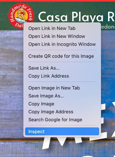 Image showing how to find the inspector in the chrome web browser. It is important to look at a website designers code in order to interview a website designer.